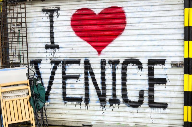 Kocham Wenecja plażę obraz stock
