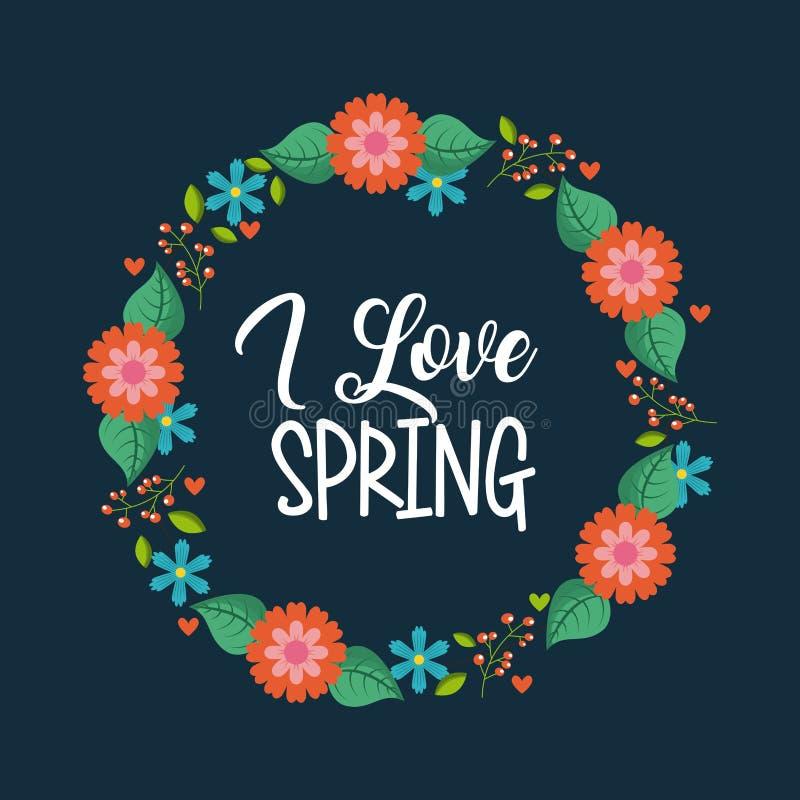 Kocham wiosnę round arragement kwiatów błękita bakcground ilustracji