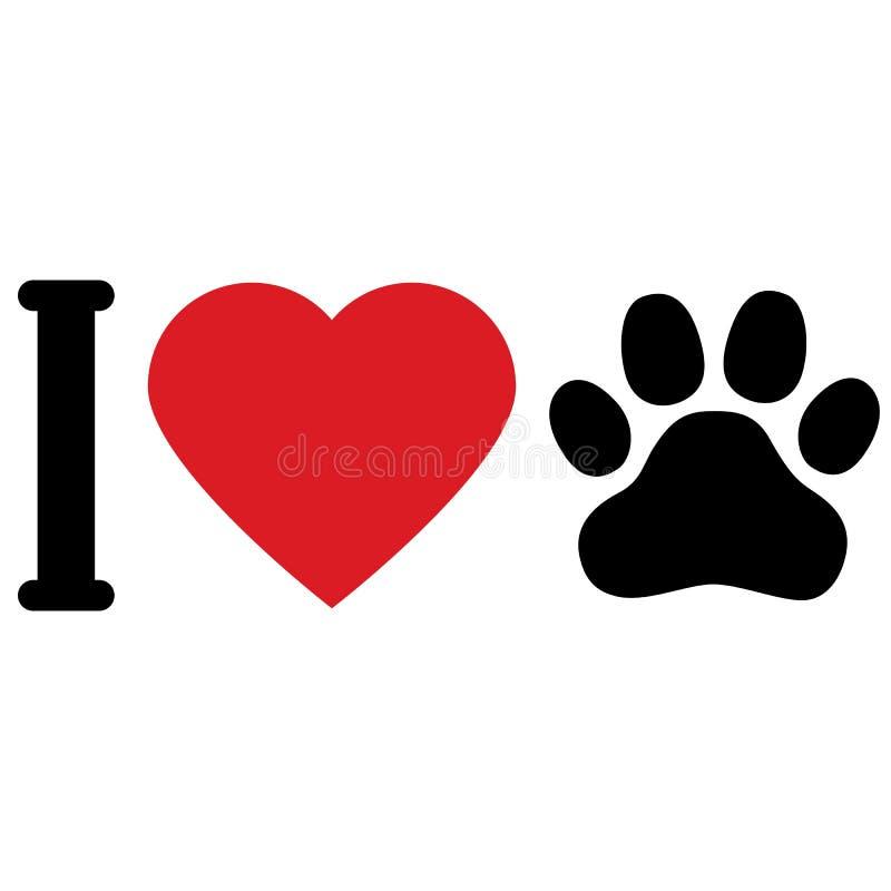 Kocham zwierzę psy Kocham mój zwierzęcia domowego Symboliczna inskrypcja ikona royalty ilustracja
