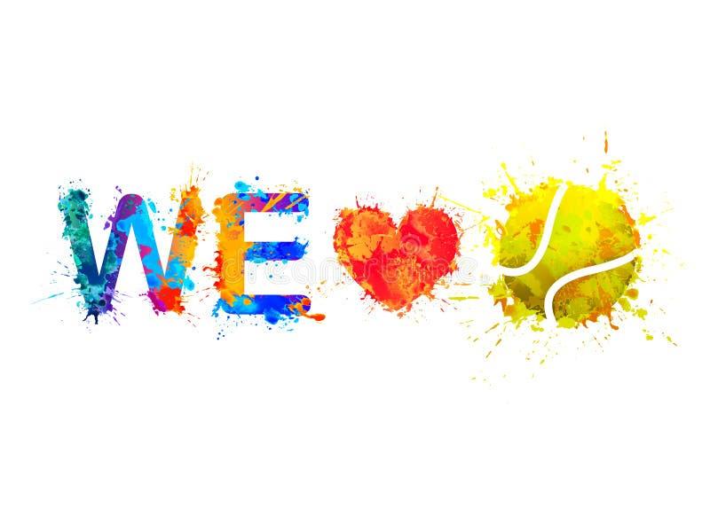 Kochamy tenisa wektor ilustracja wektor