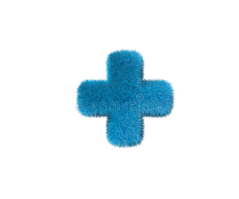 Kochana błękitna hirs chrzcielnica odizolowywająca na bielu - plus, dzieciństwa pojęcia 3D ilustracja symbole royalty ilustracja