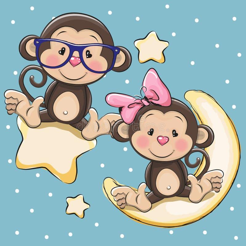 Kochanek małpy na gwiazdzie i księżyc royalty ilustracja