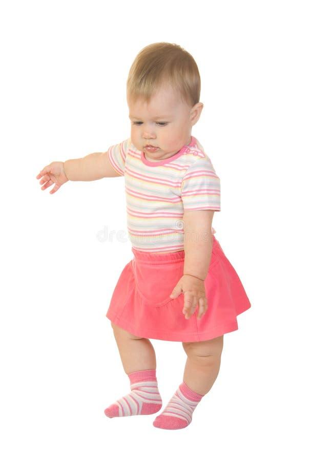 kochanie 3 sukienkę pierwszy mały krok czerwonego obraz royalty free