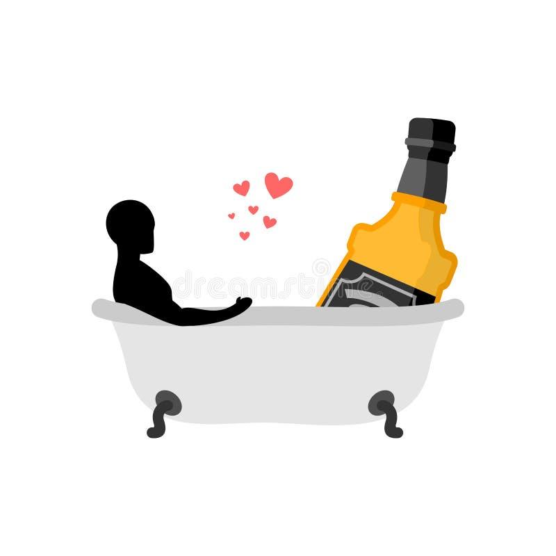 Kochanka alkoholu napój Mężczyzna i butelka whisky w skąpaniu Łączni półdupki royalty ilustracja