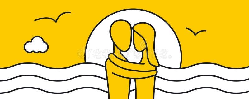 Kochankowie Obejmuje przy zmierzchem ilustracja wektor