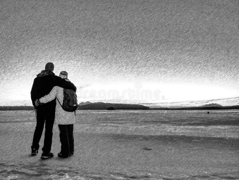 Kochankowie stoi wpólnie przez ciężkich chwil, związków wyzwania zdjęcie royalty free