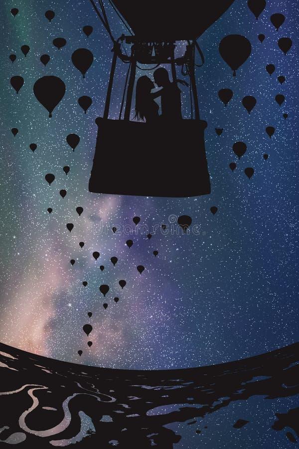 Kochankowie w balonie przy nocą royalty ilustracja
