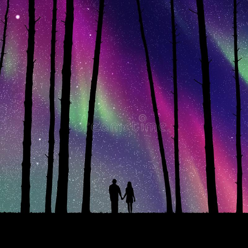 Kochankowie w lesie przy nocą ilustracja wektor