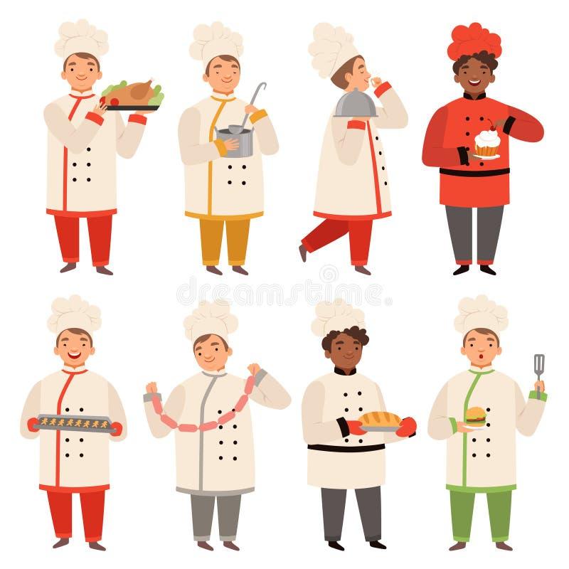 Kochcharaktere Chef an der Küche Karikaturmaskottchen des verschiedenen geschmackvollen Lebensmittels in den verschiedenen Haltun stock abbildung
