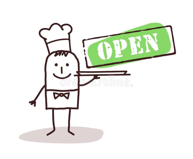 Kochchef mit offenem Zeichen lizenzfreie abbildung