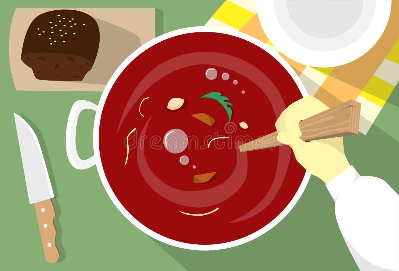 Kochen Borschtsch-der ukrainischen nationalen traditionellen Teller-Handaufruhr-Rot-Suppe lizenzfreie abbildung