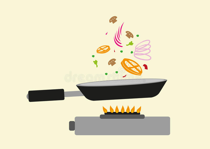 Kochen in der Aktion Bratpfanne und Bestandteile auf Luft Editable Clipart stock abbildung