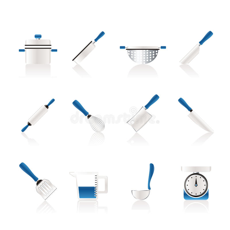Kochen der Ausrüstungs- und Hilfsmittelikonen lizenzfreie abbildung