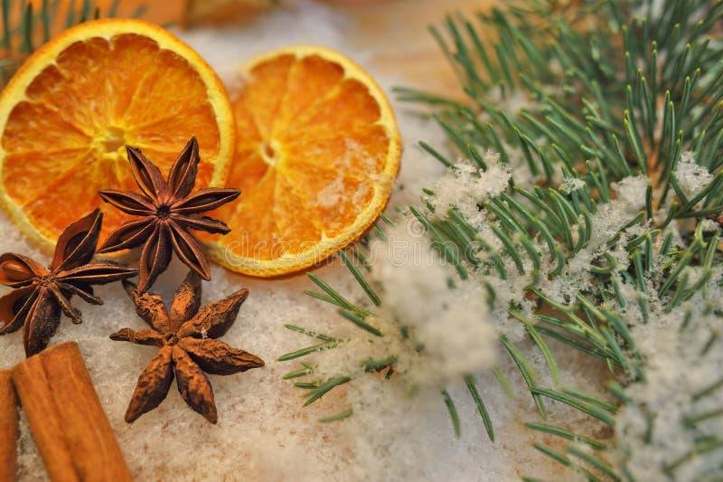 Kochen der Bestandteile: Zimtsteuerknüppel und Sternanis lizenzfreies stockbild