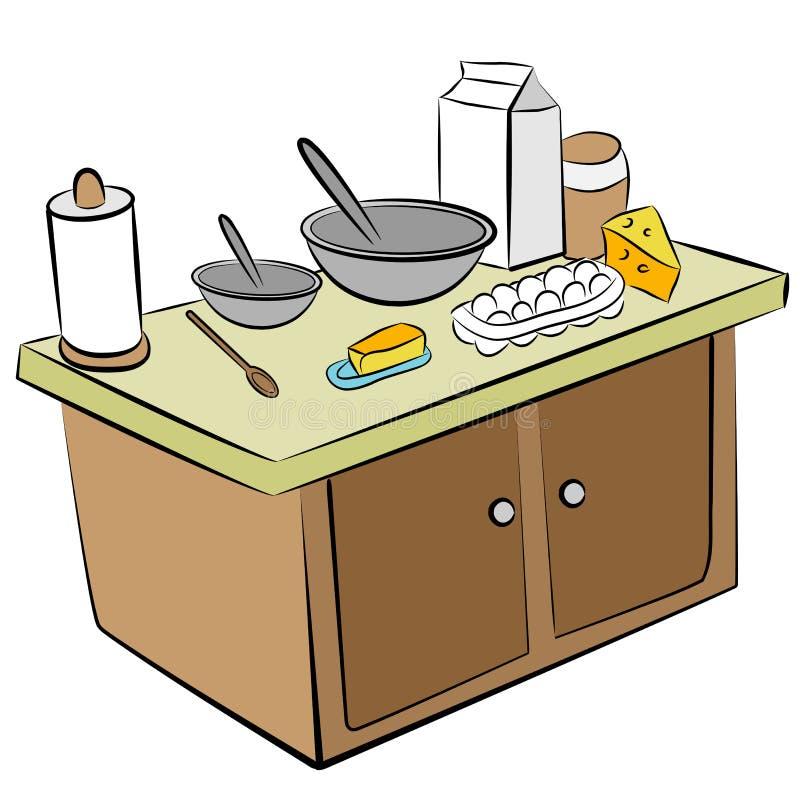 Kochen der Hilfsmittel und der Bestandteile vektor abbildung