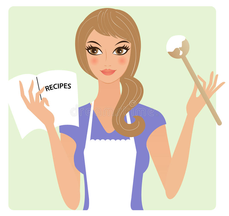 Kochen der jungen Frau lizenzfreie abbildung