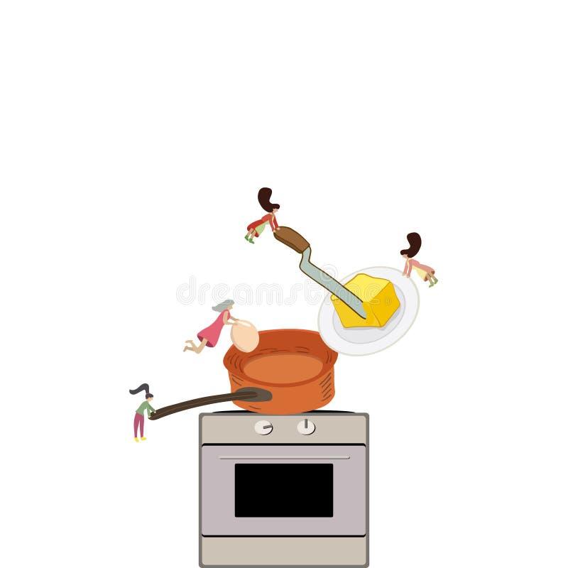 Kochen der Mahlzeit in der Küche durch kleine Frau lizenzfreie abbildung