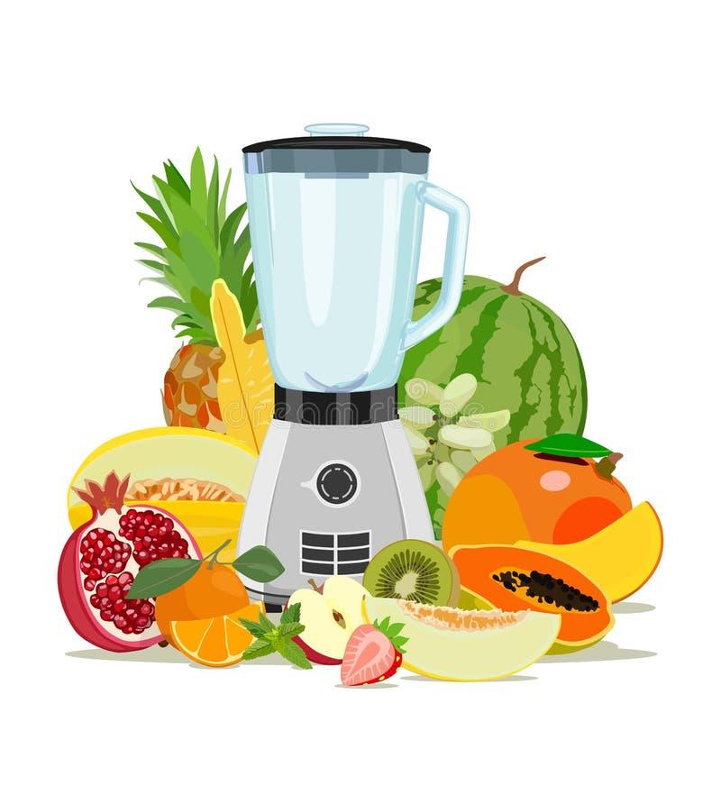 Kochen der Mischmaschine und der Frucht Gesundes Essen Früchte smoothies Auch im corel abgehobenen Betrag stock abbildung