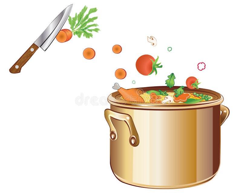 Kochen der Suppe mit Gemüse stock abbildung