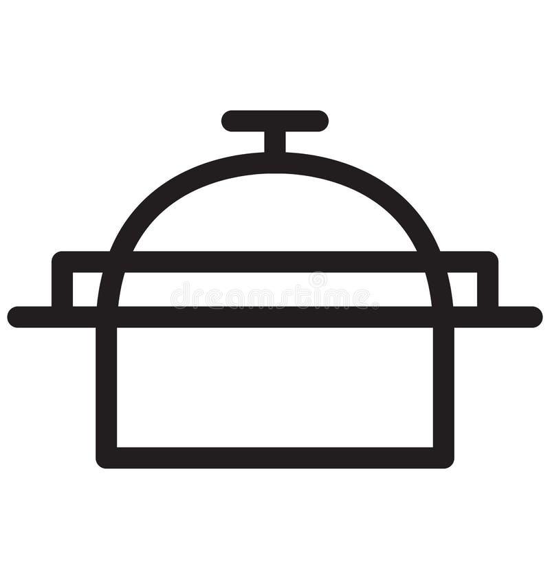 Kochen der Vektor-Illustration der Topf-einzelnen Zeile stock abbildung