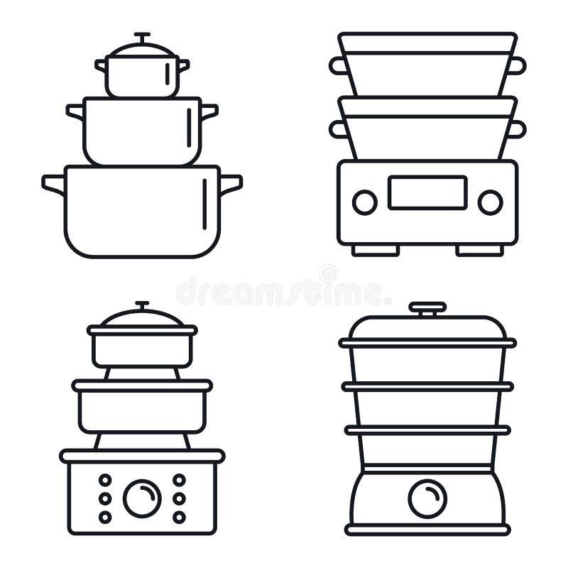 Kochen des Dampferikonensatzes, Entwurfsart lizenzfreie abbildung