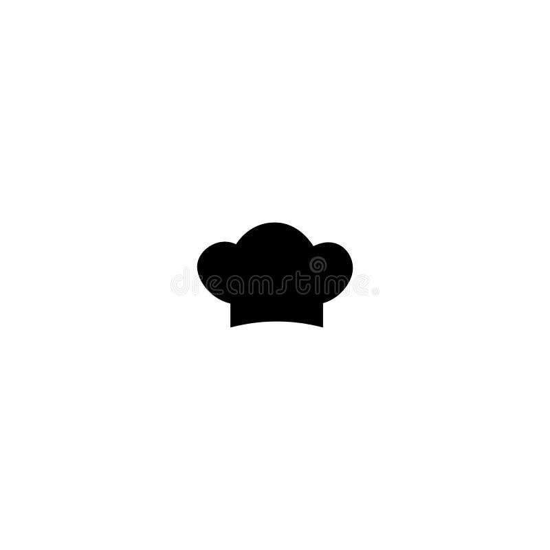 Kochen des flachen Logos des Hutvektors Einfache schwarze Ikone der Küche Vektorabbildung getrennt lizenzfreie abbildung