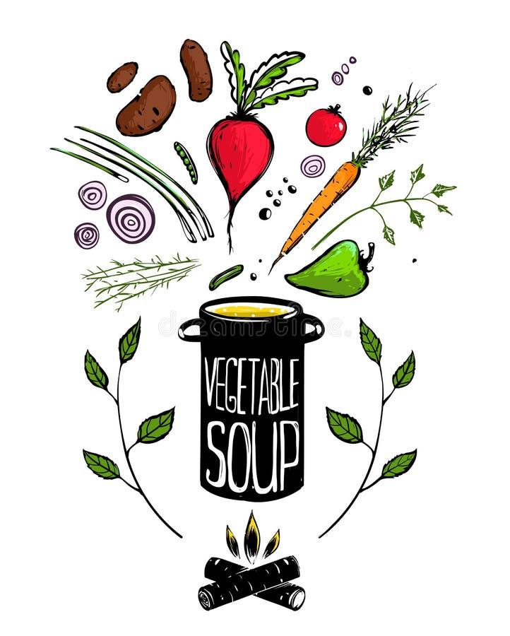 Kochen des Gemüsesuppen-Lebensmittels lizenzfreie abbildung