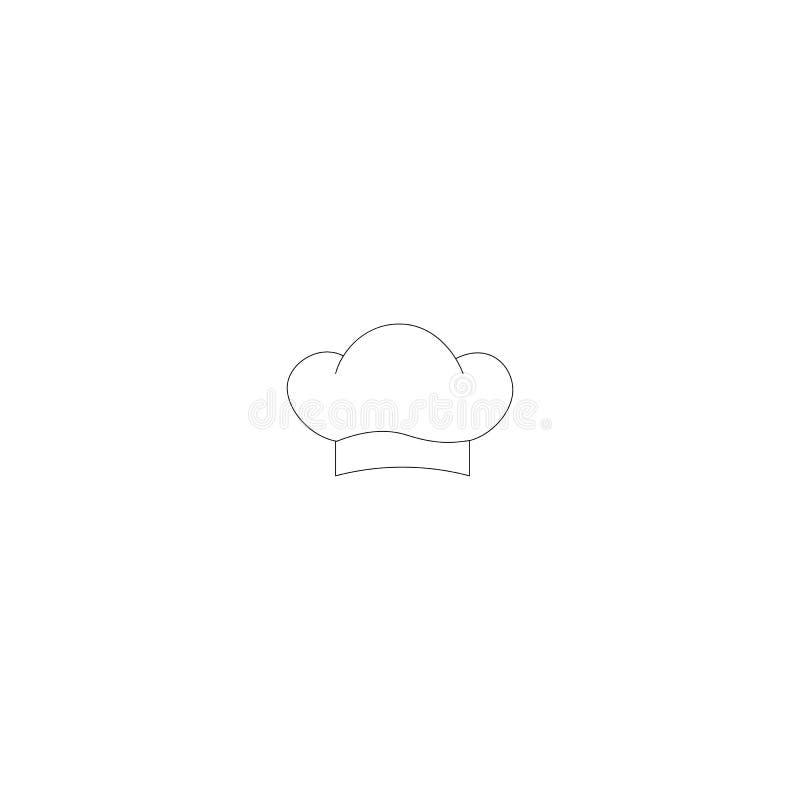 Kochen des Hutvektor-Entwurfslogos Einfache Linie Ikone der Küche Auch im corel abgehobenen Betrag lizenzfreie abbildung
