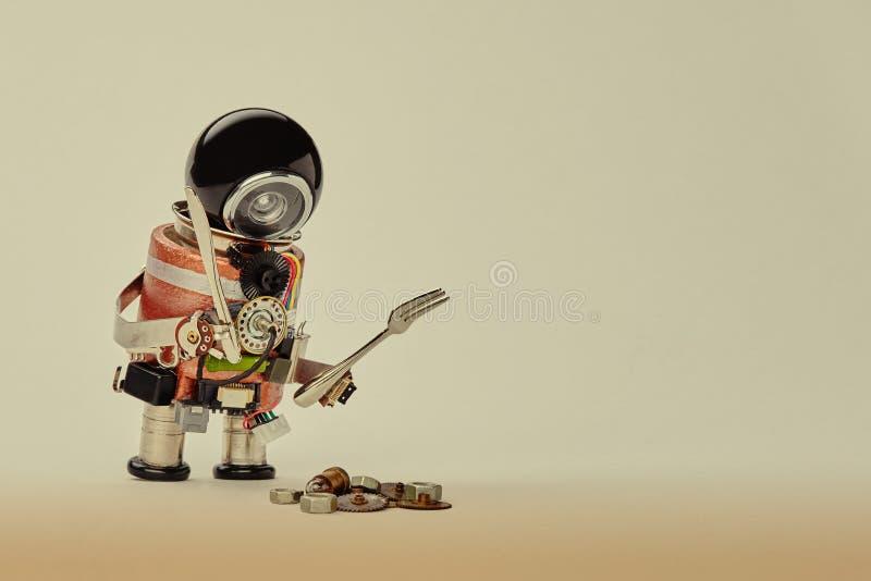 Kochen des Küchenchefcharakters mit Gabelmesser und des abstrakten Frühstücksnahrungsmenükonzeptes mit dem freundlichen Roboter,  lizenzfreie stockbilder