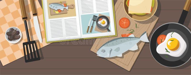 Kochen des Konzeptes Spiegelei, Gemüse mit Spinat, Bratpfanne und Fische Beschneidungspfad eingeschlossen stock abbildung