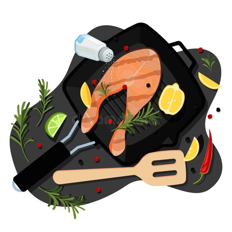 Kochen des Lachssteaks, Draufsichtillustration der Karikatur des Vektors flache Grillwanne mit gebratenem Seefisch, Gewürze, Best lizenzfreie abbildung