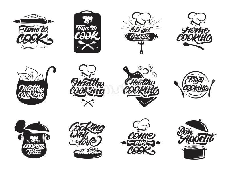 Kochen des Logosatzes Gesund Bon Appetit Koch, Chef, K?chenger?tikone oder Logo Handgeschriebene Beschriftungsvektorillustration stock abbildung
