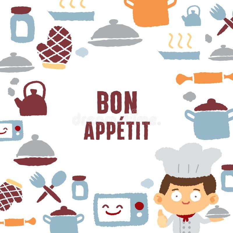 Kochen des Mannes und des Textes Bon Appetit stock abbildung