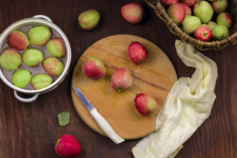 Kochen des traditionellen Apfelkuchens stockbild