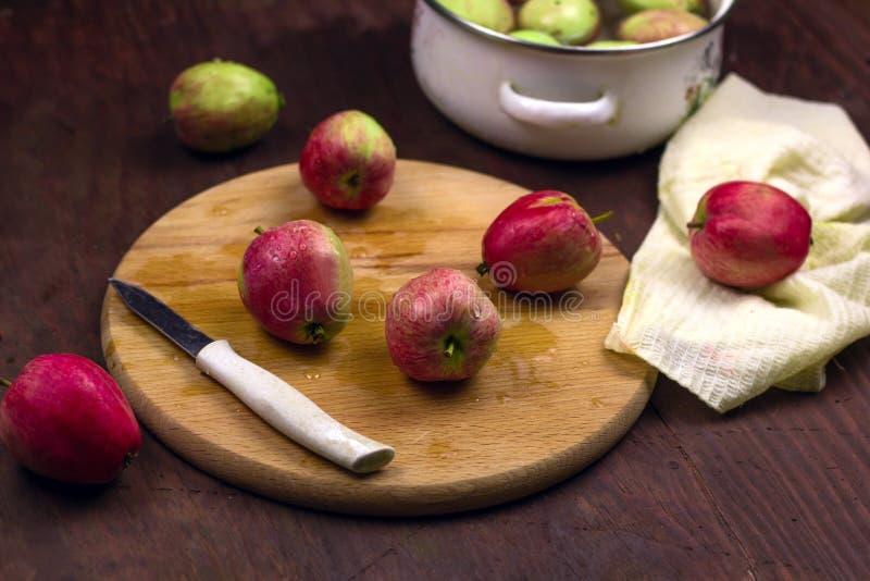 Kochen des traditionellen Apfelkuchens stockbilder