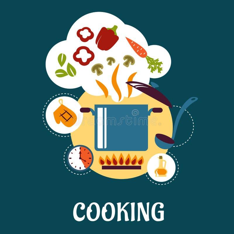Kochen flach infographic mit Gemüsesuppe lizenzfreie abbildung