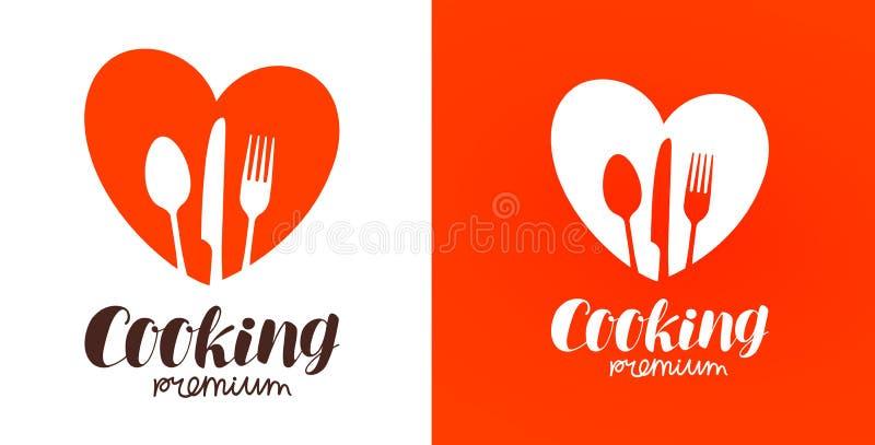 Kochen, Küche, Kochenlogo Restaurant, Menü, Café, Restaurantikone oder Aufkleber Auch im corel abgehobenen Betrag vektor abbildung