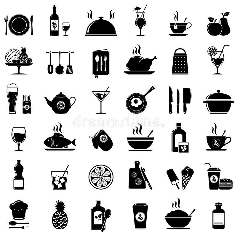 Kochen, Küchenwerkzeuge, Lebensmittel und Getränkikonen lizenzfreie abbildung