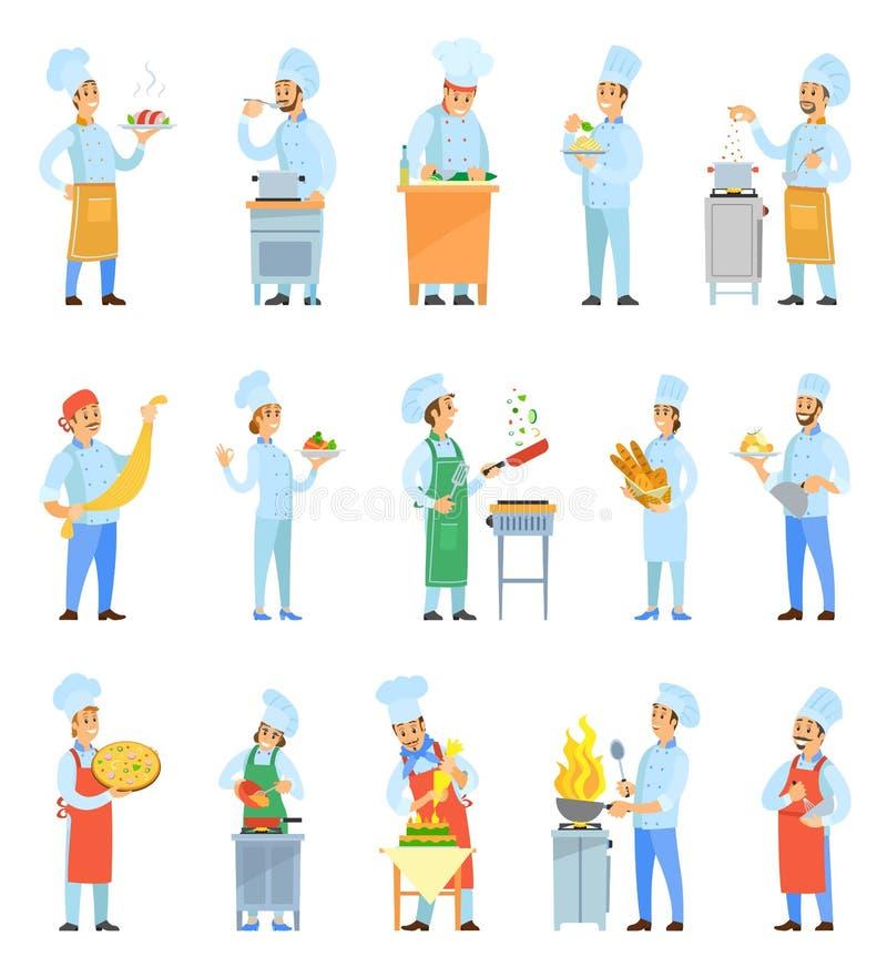 Kochen Sie Chefs Cooking Meal im Küchen-Satz-Vektor lizenzfreie abbildung