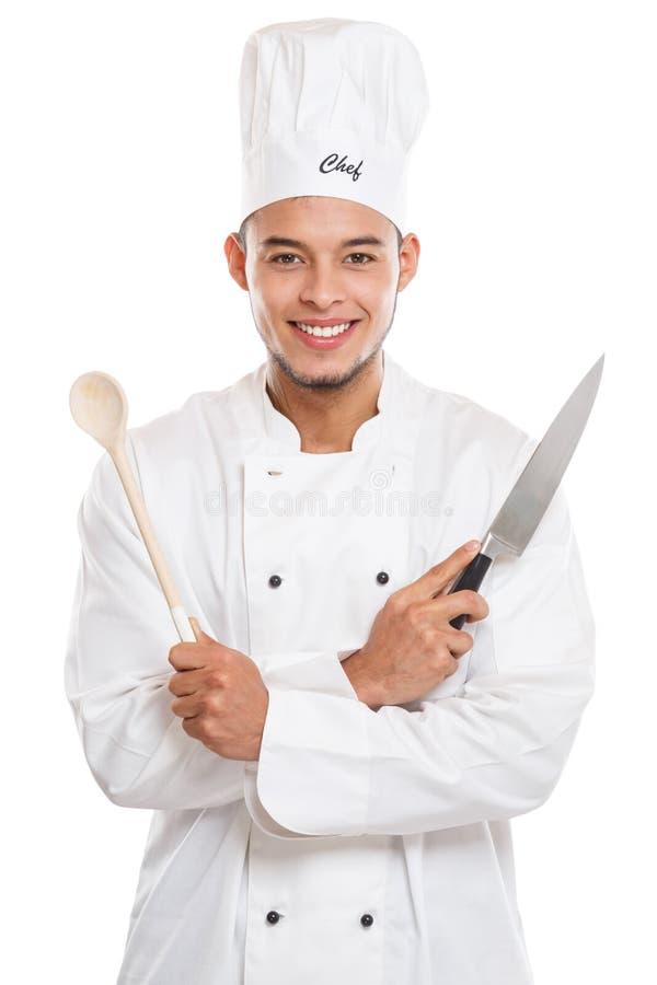 Kochen Sie das Kochen des männlichen Jobs des jungen Mannes, der auf Weiß lokalisiert wird lizenzfreies stockfoto