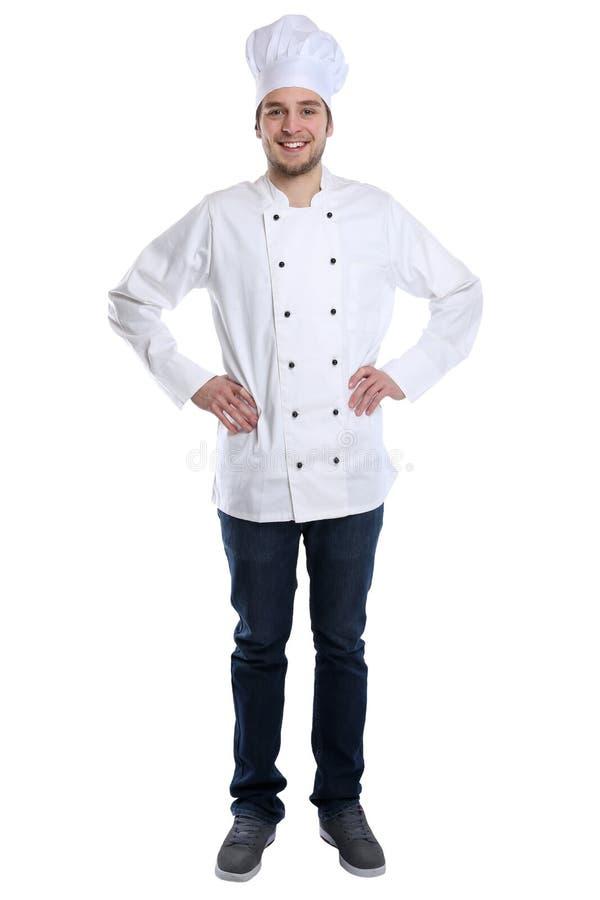 Kochen Sie den Lehrlingsauszubildenden, der mit dem jungen Mann des Jobs kocht, der Isolator steht lizenzfreie stockfotos