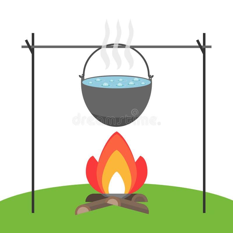 Kochen Sie die Suppe auf dem Feuer lizenzfreie abbildung