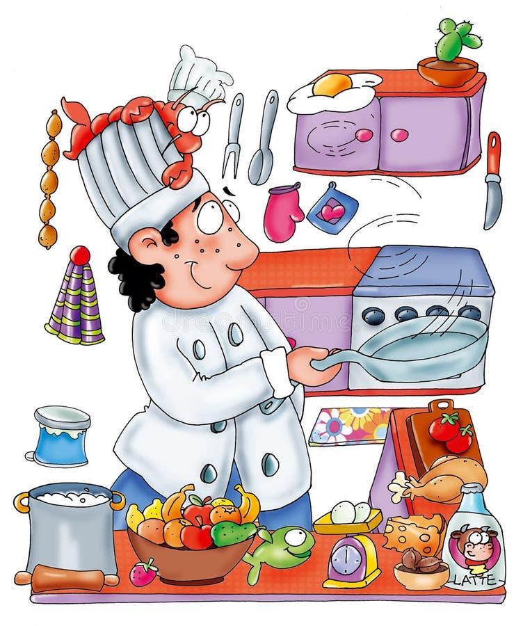 Kochen Sie im Restaurant, Chef im Restaurant und ein Ei springen stock abbildung