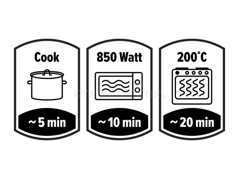 Kochen Sie Minutenvektorikone Minuten, die in kochender Kasserolle, im Mikrowellenwatt und in der Ofenkochertemperatur, Nahrungsm stock abbildung