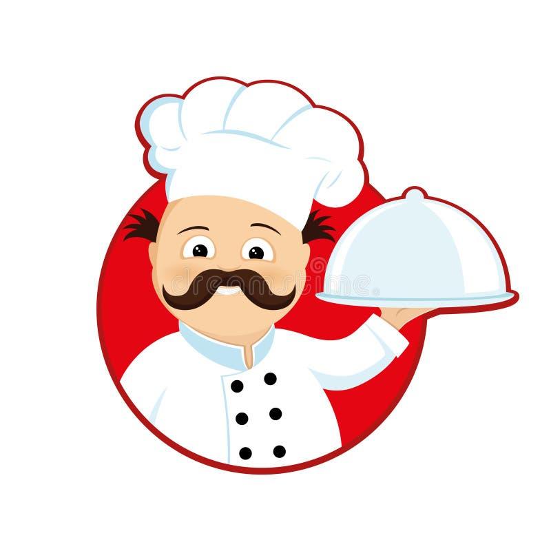 Kochen Sie mit Teller in der Hand in einem roten Kreis vektor abbildung
