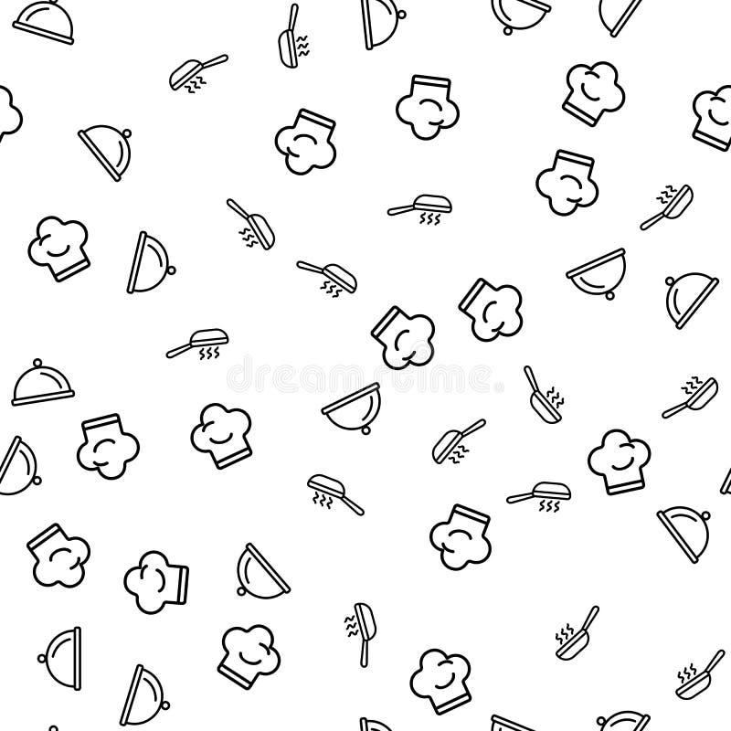 Kochen von Geräten für Chef Seamless Pattern Vector vektor abbildung