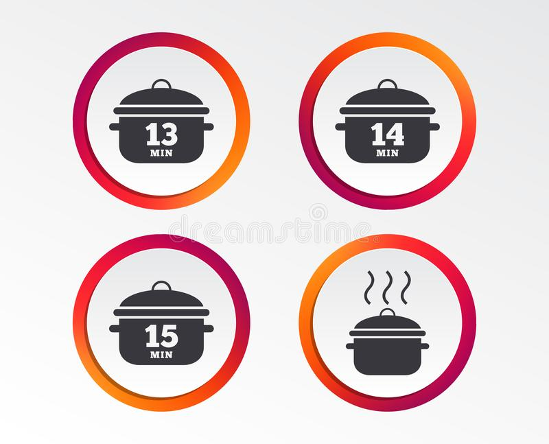Kochen von Wannenikonen Blutgeschwür fünfzehn Minuten stock abbildung