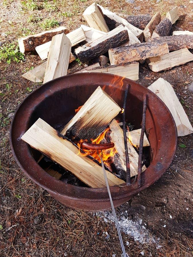 Kochen von Weiner Lager-Feuer lizenzfreie stockfotos