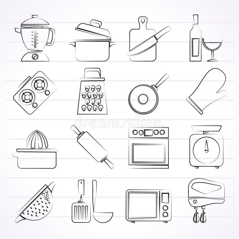 Kochen von Werkzeugikonen stock abbildung