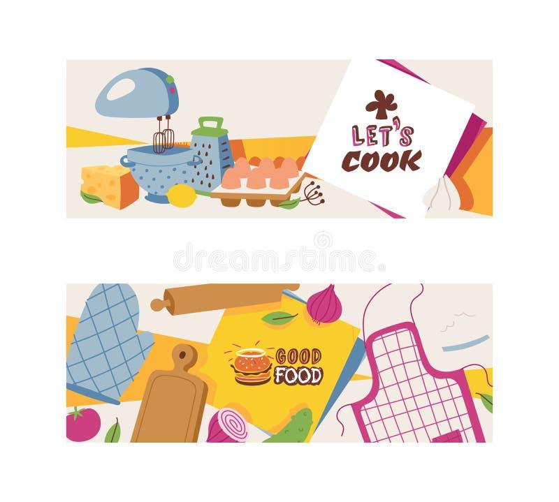 Kochende Geräte und Restaurantgerät- und -nahrungsmittelsatz der Fahnenvektorillustration Gute Nahrung Gelassener s-Koch schutzbl lizenzfreie abbildung